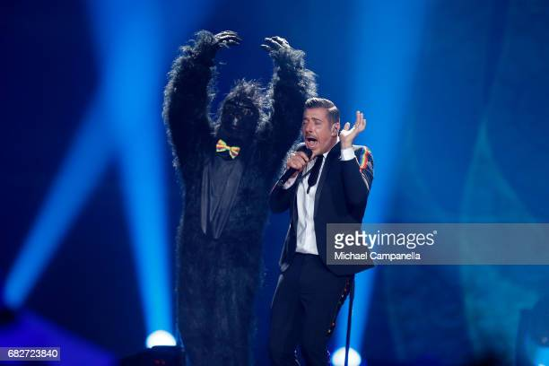 Singer Francesco Gabbani representing Italy performs the song 'Occidentali's Karma' during the final of the 62nd Eurovision Song Contest at...