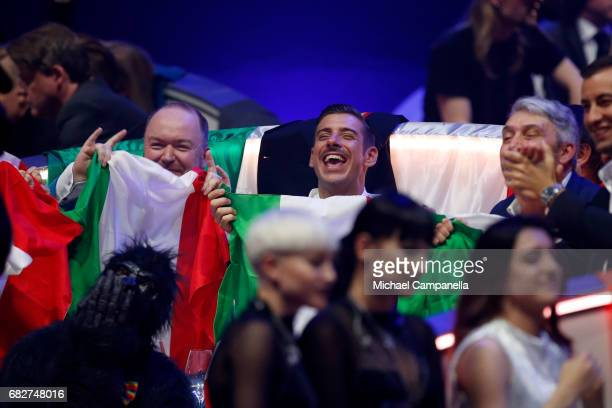 Singer Francesco Gabbani representing Italy reacts during the final of the 62nd Eurovision Song Contest at International Exhibition Centre on May 13...