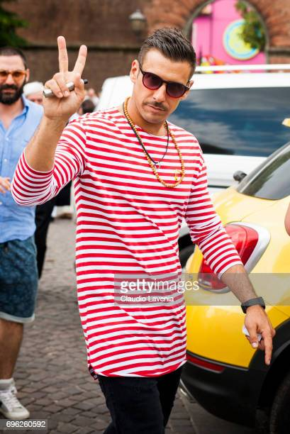 Singer Francesco Gabbani wears Sting sunglasses during Pitti Immagine Uomo 92 at Fortezza Da Basso on June 15 2017 in Florence Italy