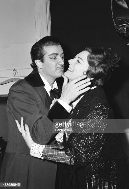 Singer Franco Corelli kissing Renata Tebaldi on September 15, 1965 in New York, New York.