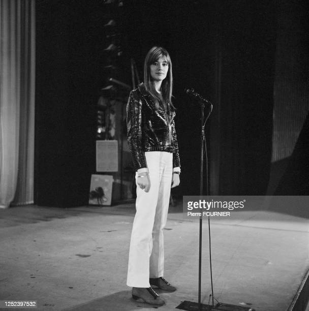 Singer Francoise Hardy at Olympia Hall in Paris.