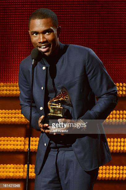 Singer Frank Ocean accepts an award onstage at the 55th Annual GRAMMY Awards at Staples Center on February 10 2013 in Los Angeles California