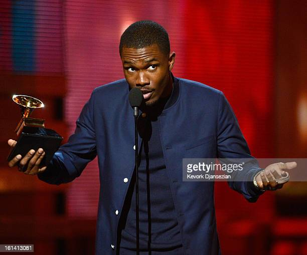 Singer Frank Ocean accepts Best Urban Contemporary Album award for Channel Orange onstage at the 55th Annual GRAMMY Awards at Staples Center on...