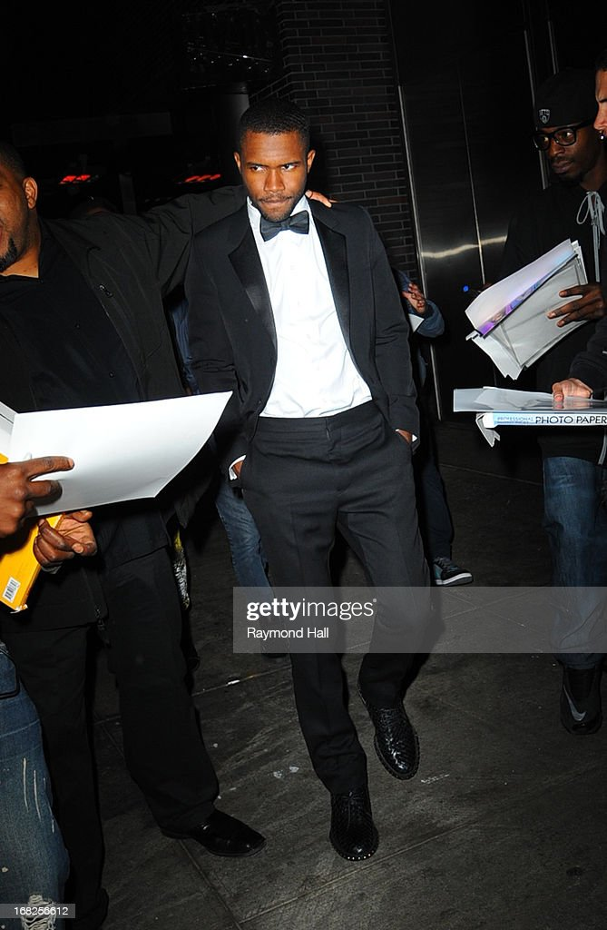 Singer Frank Ocean leaves the 'PUNK: Chaos To Couture' Costume Institute Gala after party at the Standard Hotel on May 6, 2013 in New York City.