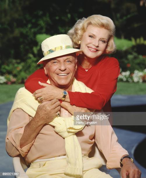 Singer Frank Sinatra and Barbara Sinatra pose for a portrait in 1990 in Los Angeles, California.