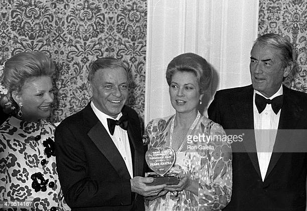 Singer Frank Sinatra and wife Barbara actress Princess Grace Kelly and actor Gregory Peck attend the 53rd Annual Variety Clubs International...