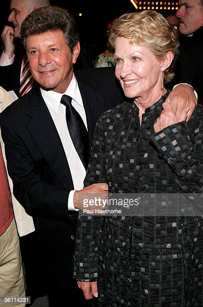 Singer Frankie Avalon and his wife Kathryn Diebel attend the play opening night of Jersey Boys at the August Wilson Theater November 6 2005 in New...