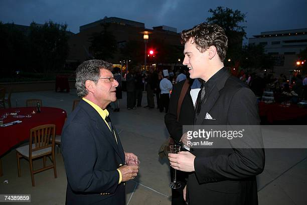 Singer Frankie Avalon with Castmember Actor Erich Bergen talk during the opening night party for 'Jersey Boys' the 2006 Tony Award winner for Best...