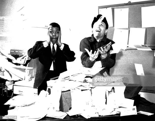 Singer Frankie Lymon and NY DJ Murray Kaufman pose for a portrait with fan mail in circa 1956