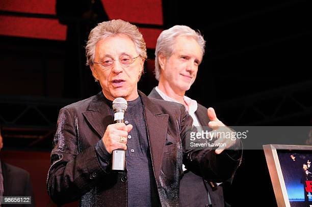 Singer Frankie Valli and Bob Gaudio celebrate 2 year with a platinum record commemoration at The Palazzo on April 24 2010 in Las Vegas Nevada