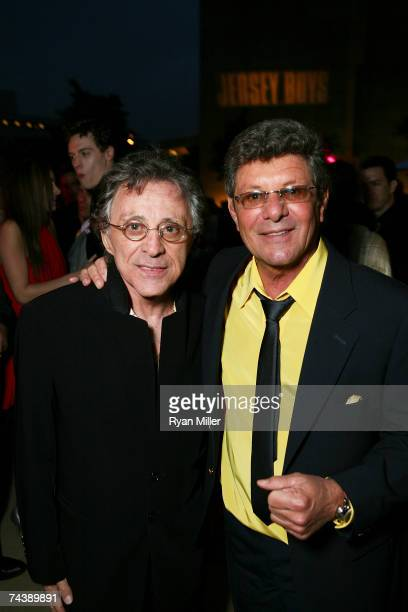 Singer Frankie Valli and Singer Frankie Avalon pose during the opening night party for 'Jersey Boys' the 2006 Tony Award winner for Best Musical that...