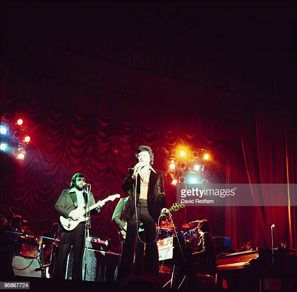 Singer Frankie Valli performs on stage with the Four Seasons in the 1970's.