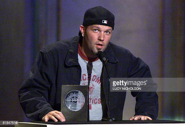 US singer Fred Durst of the group Limp Bizkit accepts the award for Favorite GroupModern Rock at the Sixth Annual Blockbuster Awards in Los Angeles 9...