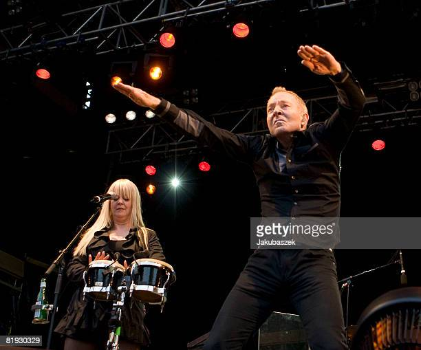 Singer Fred Schneider and Cindy Wilson of the US Rock band 'The B52's' perform live during a concert at the Zitadelle on July 14 2008 in Berlin...