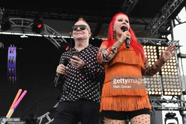 Singer Fred Schneider and singer Kate Pierson of the The B-52's perform on stage at the Growlers 6 festival at the LA Waterfront on October 29, 2017...