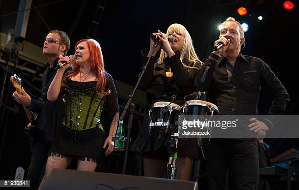 Singer Fred Schneider Cindy Wilson Kate Pierson and Keith Strickland of the US Rock band 'The B52's' perform live during a concert at the Zitadelle...