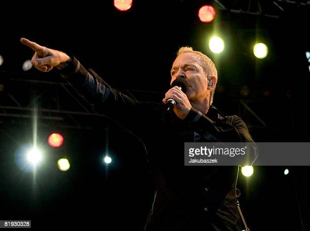 Singer Fred Schneider of the US Rock band 'The B52's' performs live during a concert at the Zitadelle on July 14 2008 in Berlin Germany The concert...