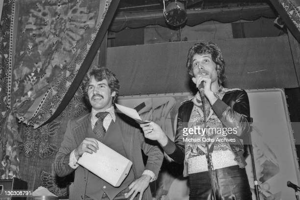 Singer Freddie Mercury during a party thrown by Elektra Records 1977