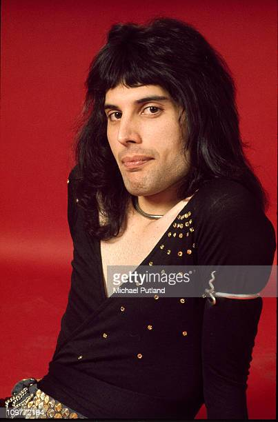 Singer Freddie Mercury of British rock band Queen poses in London England in 1973