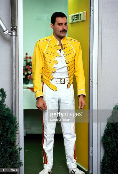 Singer Freddie Mercury of British rock group Queen backstage at Slane Castle Ireland 1986