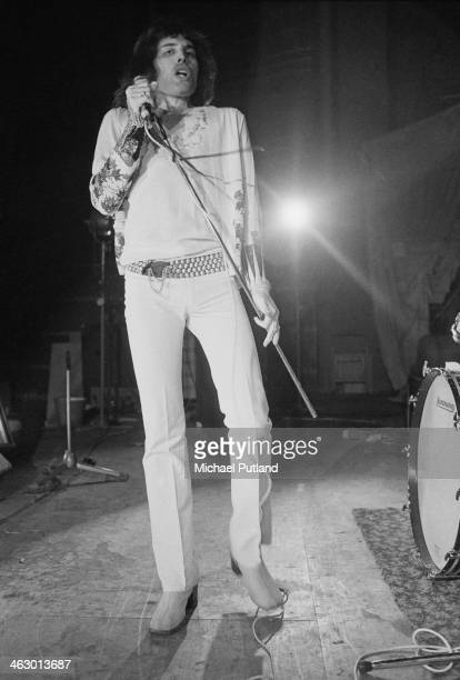 Singer Freddie Mercury , of British rock group Queen, during rehearsals for the group's first major tour, 8th July 1973.