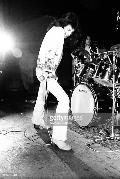 Singer Freddie Mercury of British rock group Queen during rehearsals for the group's first major tour 8th July 1973