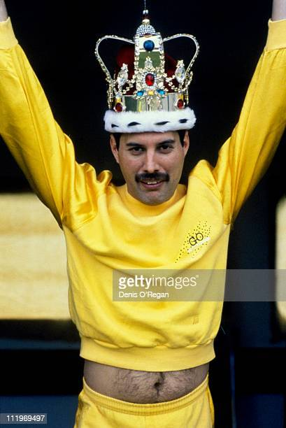 Singer Freddie Mercury of British rock group Queen wearing a crown backstage at Slane Castle Ireland 1986