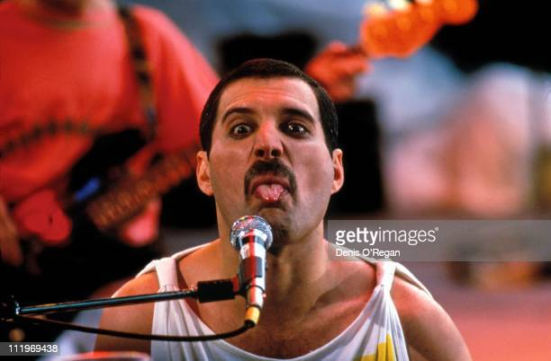 Singer Freddie Mercury performing with British rock group Queen in Budapest 1986