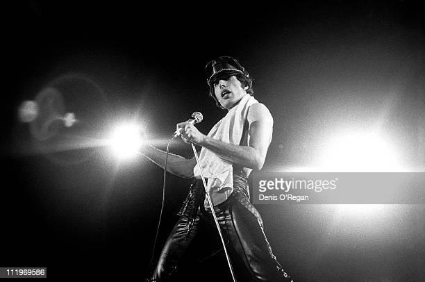 Singer Freddie Mercury performing with British rock group Queen Paris 1979