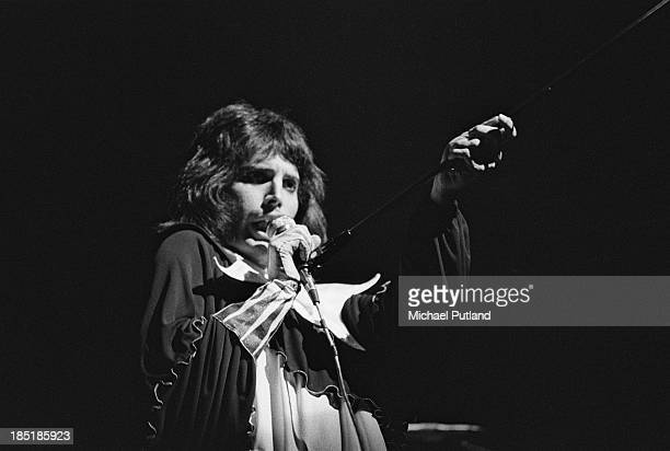 Singer Freddie Mercury performing with British rock group Queen UK November 1973