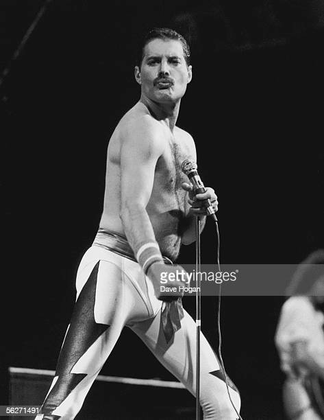 Singer Freddie Mercury performing with his group Queen at the inaugural Rock In Rio festival in Rio de Janerio 24th January 1985