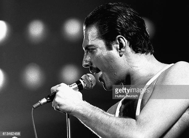 Singer Freddie Mercury performs during a Queen concert