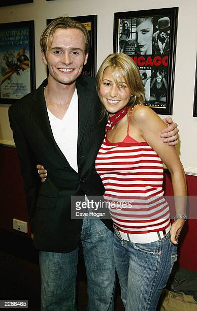 Singer from S Club Jon Lee with Rachel Stevens at his opening night as 'Marius' in The West End show 'Les Miserables' at The Palace in London England