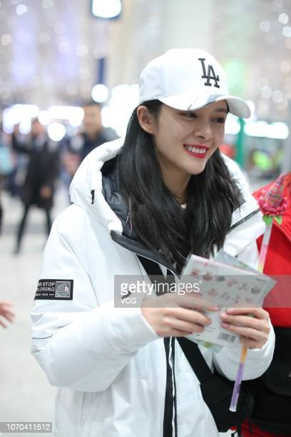Singer Fu Jing of girl group Rocket Girls 101 is seen at an airport on November 20 2018 in Beijing China Girl group Rocket Girls 101 cancelled the...