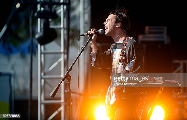 Singer Gabriel Winterfield of Jagwar Ma performs onstage during FYF Fest 2016 at Los Angeles Sports Arena on August 27 2016 in Los Angeles California