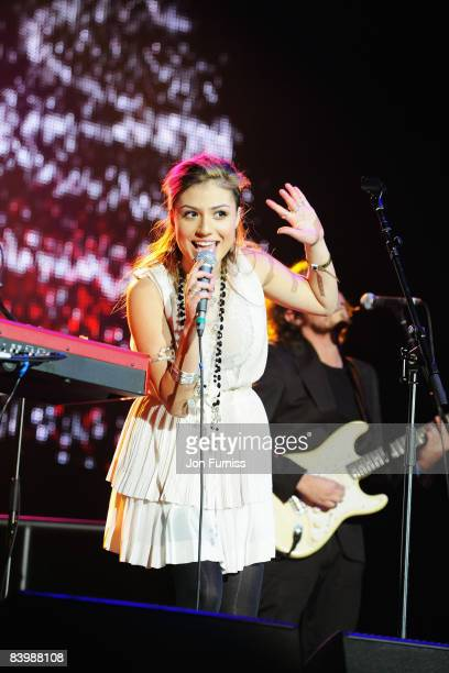 LONDON DECEMBER 10 Singer Gabriella Cilmi poses backstage at Capital FM's Jingle Bell Ball held at the 02 Arena Docklands on December 10 2008 in...