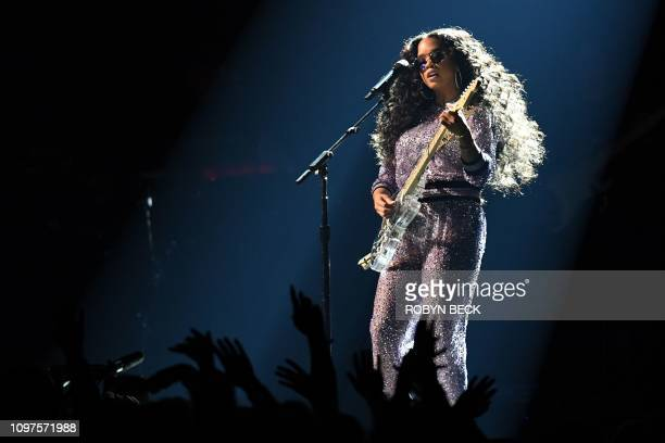US singer Gabriella Wilson aka HER during the 61st Annual Grammy Awards on February 10 in Los Angeles