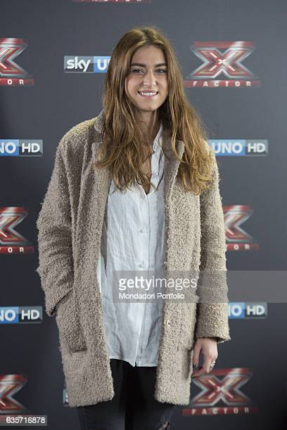 Singer Gaia Gozzi during the press conference of presentation of the first live episode of the talent show X Factor Milan Italy 26th October 2016