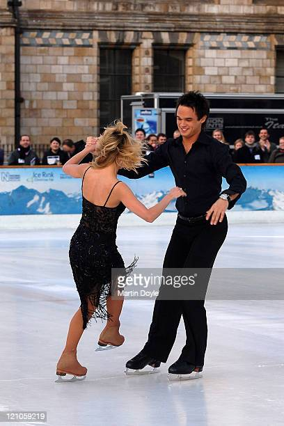Singer Gareth Gates and an unidentified guest take part in the Dancing on Ice Press launch in the National History Museum on January 7, 2008 in...