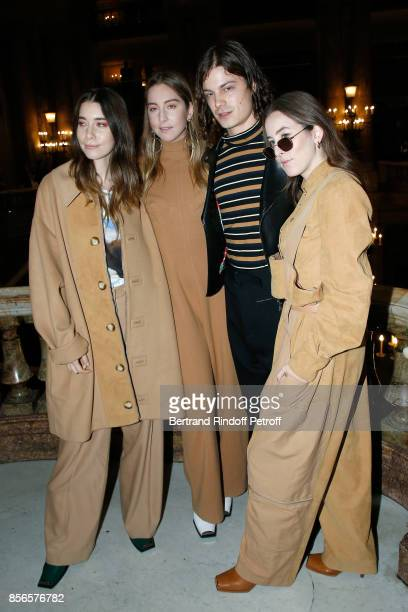 Singer Garrett Borns and Musical Group Haim sisters Danielle Sari Haim Este Arielle Haim and Alana Mychal Haim attend the Stella McCartney show as...