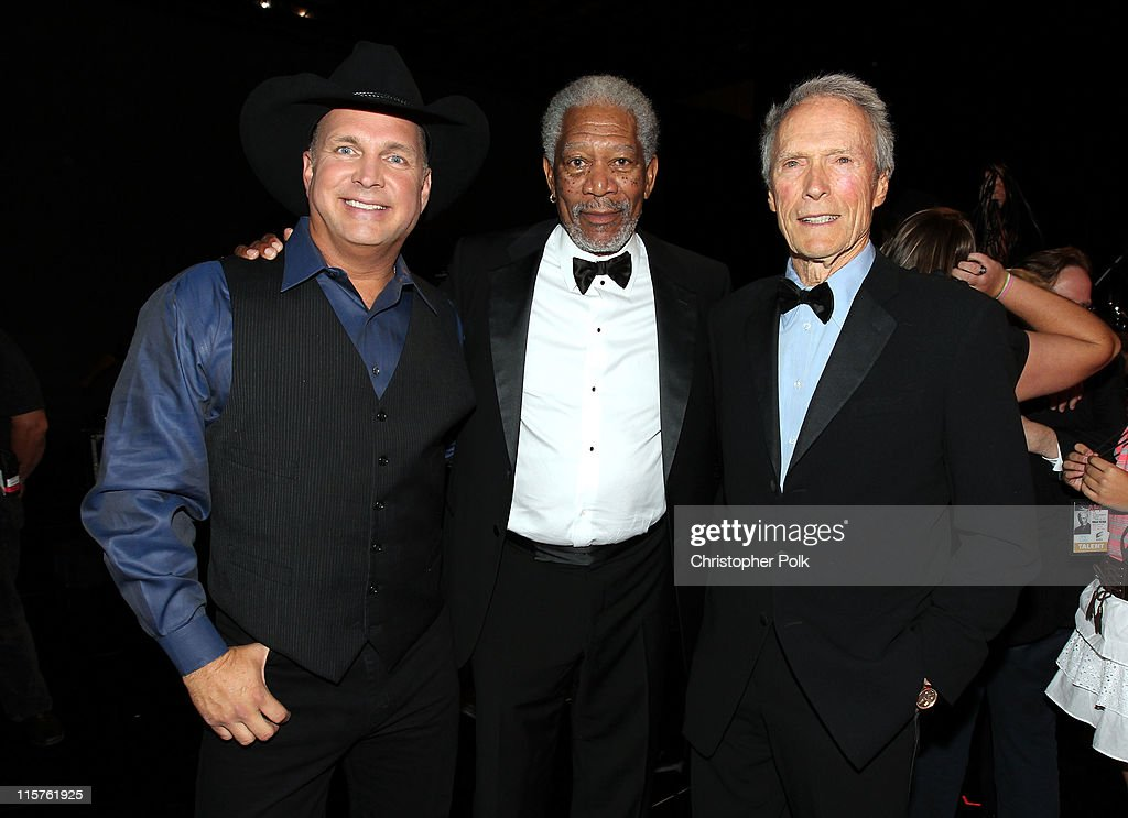 Singer Garth Brooks, 39th Life Achievement Award recipient Morgan Freeman and director Clint Eastwood backstage at the 39th AFI Life Achievement Award honoring Morgan Freeman held at Sony Pictures Studios on June 9, 2011 in Culver City, California. The AFI Life Achievement Award tribute to Morgan Freeman will premiere on TV Land on Saturday, June 19 at 9PM