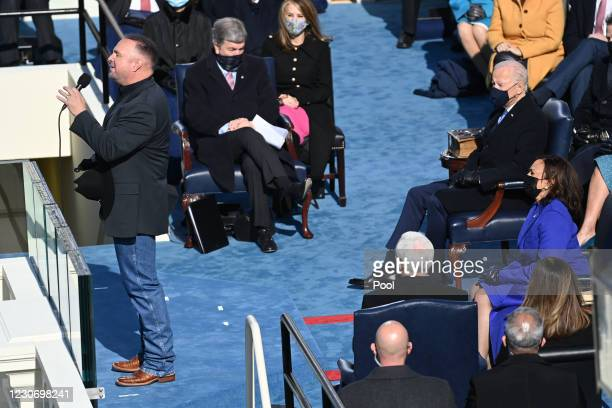 Singer Garth Brooks performs during the 59th Presidential Inauguration at the U.S. Capitol on January 20, 2021 in Washington, DC. During today's...