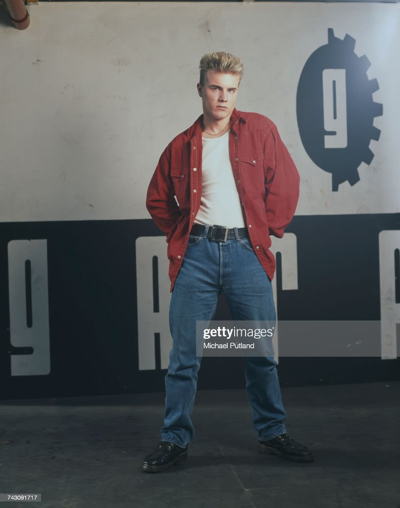 Singer Gary Barlow of British boy band Take That, posed during a photoshoot in London, 1991.
