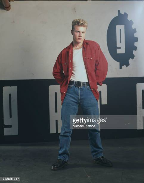 Singer Gary Barlow of British boy band Take That posed during a photoshoot in London 1991