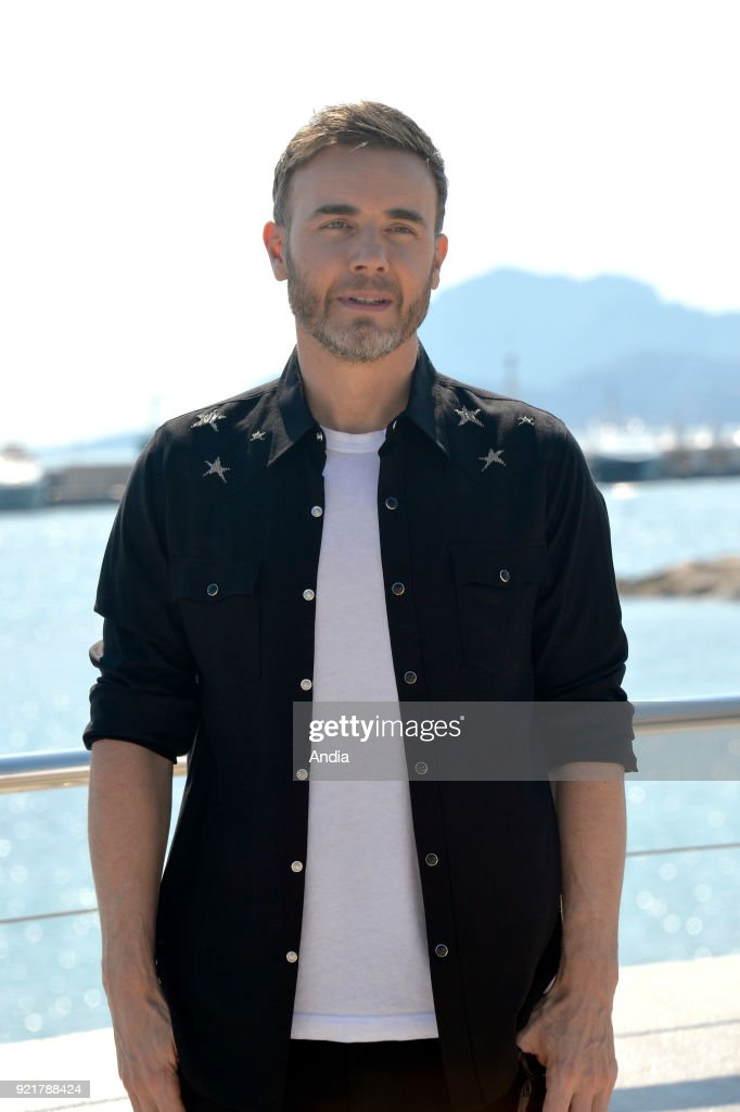 Singer Gary Barlow posing for a photocall on the occasion of the MipTV, International Television Programme Market, in Cannes (south-eastern France) on .
