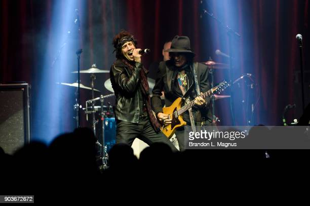Singer Gary Cherone and recording artist Joe Perry perform during a Monster Inc CES party at Brooklyn Bowl Las Vegas at The Linq Promenade on January...