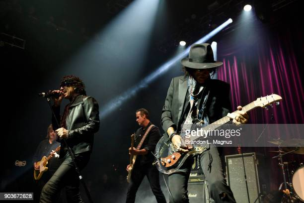 Singer Gary Cherone and recording artist Joe Perry performs during a Monster Inc CES party at Brooklyn Bowl Las Vegas at The Linq Promenade on...