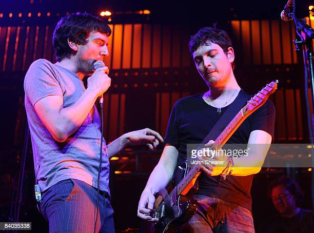 Singer Gary Lightbody and guitarist Nathan Connolly of Snow Patrol perform on Day 2 of KROQ's Almost Acoustic Xmas at the Gibson Amphitheatre on...