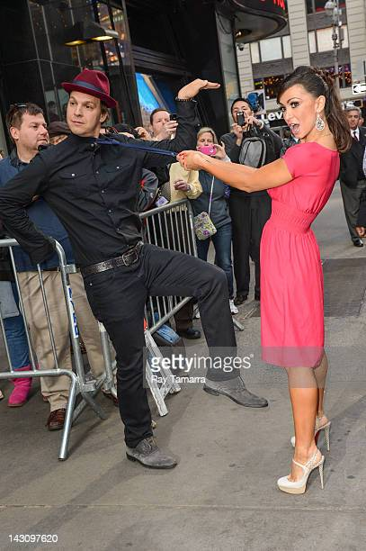 Singer Gavin DeGraw and dancer Karina Smirnoff leave the Good Morning America taping at the ABC Times Square Studios on April 18 2012 in New York City