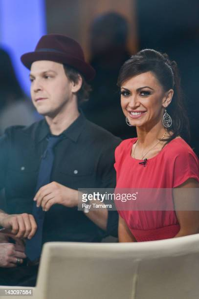 Singer Gavin DeGraw and dancer Karina Smirnoff tape an interview at Good Morning America at the ABC Times Square Studios on April 18 2012 in New York...